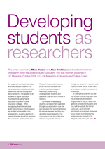 Cover of Developing students as researchers