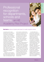 Cover of Professional recognition for departments, schools and teams: a HE Academy pilot project