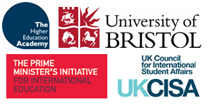 Higher Education Academy, University of Bristol, Prime Minister's Initiative for International Education, UK Coundil for International Student Affairs - composite logo